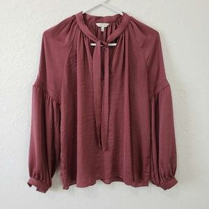Lucky Brand | Mauve Tie Neck Long Sleeve Blouse M